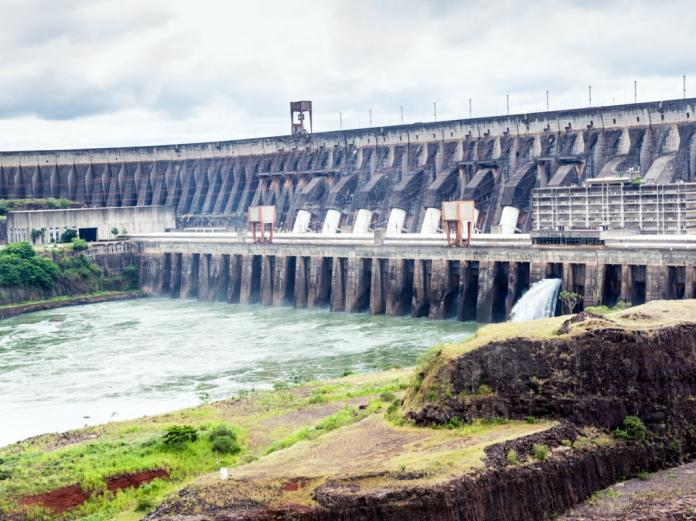 Itaipu dam on river Parana Paraguay